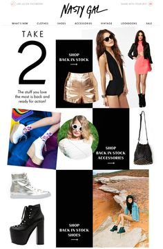 An image grid with a little more personality - Nasty Gal Back in Stock Email Design