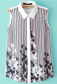 White Lapel Sleeveless Vertical Stripe Floral Blouse