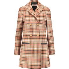 Tory Burch - Plaid Twill Coat (€215) ❤ liked on Polyvore featuring outerwear, coats, jackets, coats & jackets, tan, beige coat, tan coat, plaid coat, tory burch and twill coat