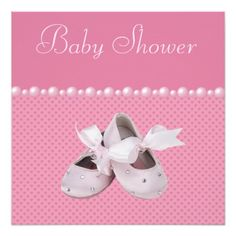 Elegant pink custom Baby Shower invitations for girls with cute pink baby ballet shoes with digital bling diamonds and bows, a beautiful frilly pink girly baby outfit, glamorous pink jewels pacifier and a pretty string of pink pearls on a sweet pink hearts background.  These classy invites are decorated both sides. Chic, trendy, modern girly glamour baby fashion invitations.  Please note: All invites on Zazzle have flat printed images.  Text, font and color of font are all customizable. If…
