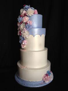 Wedding Cake; Carnation Pink and Cinderella blue; Handmade Sugar Carnations