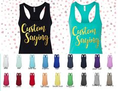 Custom Tank Top with your Saying in Glitter Script Font