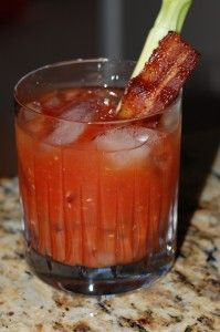 bloody mary with bacon garnish