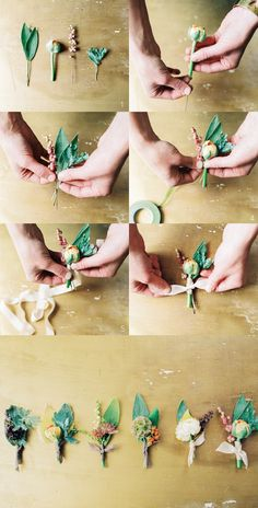 diy | how to make your own wedding boutonnieres | via: once wed