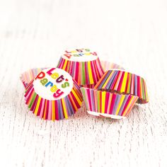 Miniature Multicolour 'Lets Party' Cupcake Liners 12 Pcs. from My Party Store