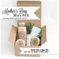 use code SWEETPEA10 for 10% off this Mothers Day Spa Gift Set!