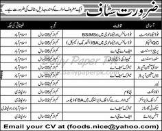 Staff Required In Nice Foods Company Rawalpindi - Islamabad  http://www.dailypaperpk.com/jobs/182529/staff-required-nice-foods-company-rawalpindi-islamabad