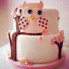 Owl cake shared by Nay on We Heart It Sweet Cakes, Cute Cakes, Beautiful Cakes, Amazing Cakes, Fondant Cakes, Cupcake Cakes, Owl Cake Birthday, Owl Cakes, Panda Cakes