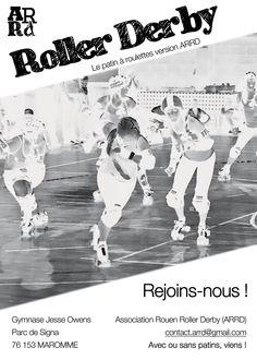 Flyer de recrutement : découvrez l'Association Rouen Roller Derby (ARRD), le patin à roulettes version ARRD !