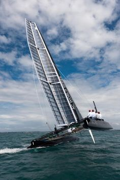 America's Cup: AC45 Wing-Sailed Catamaran Under Sail in Auckland ... a catamaran always has two pontoons of equal size ... Have you ever been sailing on a catamaran?