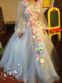 8dfb5ae4c843 Flower Fairy Dress 2016 Long Sleeves Backless Handmade Colorful Flowers  Long Prom Dress