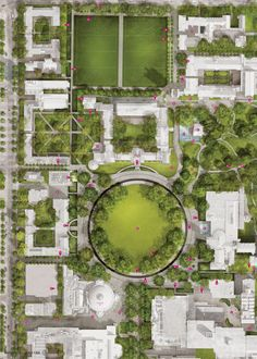 Designs for University of Toronto – St. George Campus I really like how there is a central space between all the buildings. However, there is also break out green spaces on the outskirts of the building. Circulation brings pedestrians to and from each building location in a smooth and efficient pattern.