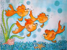 Goldfish Watercolor Painting Fine Art Print  by LimezinniasDesign