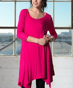 Look at this Caralase Fuchsia Handkerchief Dress on #zulily today!