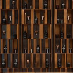 For the new product line, the brand experiments in the world of precious and original materials, in the quest for an exclusive perfection. Wine Shelves, Wine Storage, Shelving, Cubby Storage, Storage Ideas, Architecture Restaurant, Restaurant Design, Shelf Design, Wall Design