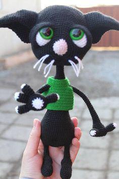 Knitted cat black cat amigurumi cat pet