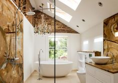 Fantastic Brick Wall Decor to Your Home: Fascinating Bathroom Interior Granite Backsplash Exposed Brick Walls Accent