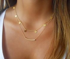 Sequins Mini Tube Pendant Double-chained Necklace
