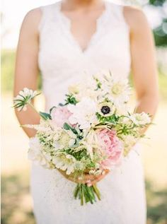 Bouquets White rustic bouquet wildflowers pink peony daisies