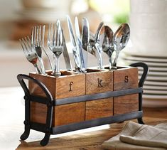 Vintage Blacksmith Flatware Caddy | Pottery Barn I think I can make something like this...maybe with one hand handle