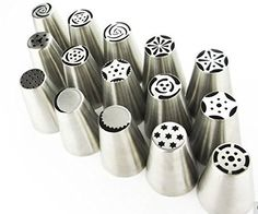 Russian Nozzle Flower Magic Stainless Steel Tips Roses & Tulips 15 Piece Set Cake Decorating