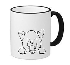 Smiley Happy Puppy Dog 11 ounce Black Rim/Handle Ringer Ceramic Coffee Mug Tea Cup by Moonlight Printing *** Remarkable product available now. : Cat mug Smiley Happy, Black Rims, Happy Puppy, Cat Mug, Moonlight, Dogs And Puppies, Tea Cups, Coffee Mugs, Printing