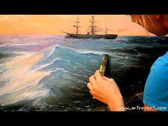 ▶ Живопись маслом: морской пейзаж - мастер класс (по мотивам картины Айвазовского)) - YouTube