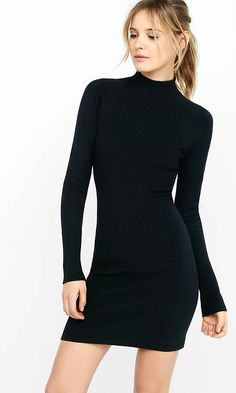 Cold weather is no reason to forfeit a sexy silhouette. This mock neck sweater dress calls out all of your curves with front and back panel ribbing while keeping you snuggled in warmth.