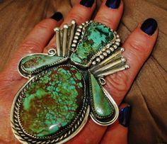 NAVAJO IMMENSE CARVED TURQUOISE STEER RING,60gr G.CHAVEZ Sterling Silver in Collectibles, Cultures & Ethnicities, Native American: US   eBay