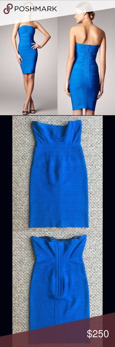 "Herve Leger Deep Ocean Blue Nola Strapless Dress Herve Leger Deep Ocean Blue Nola Strapless Dress - Size Small   Absolutely Beautiful Dress!!! Deep Ocean Blue Nola Strapless Dress in Excellent Condition. There are no noticeable flaws, holes or snags. Retail $ 1,095-   100% Authentic Re-Posh 😕  Purchase, unfortunately I feel it doesn't look right on me so I'm selling 😢 My loss is your gain...   Measurements laying flat:  - Bust 14""  - Waist 12""  - Hips 13.5  -  Length 26""   Any questions…"