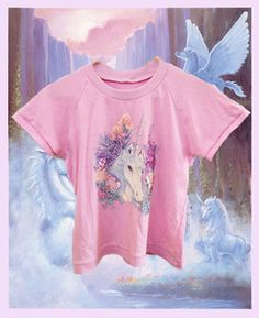 80s 90s Unicorn magic dream pastel pink t-shirt top - club kid, raver, seapunk, kawaii, novelty, print, flowers
