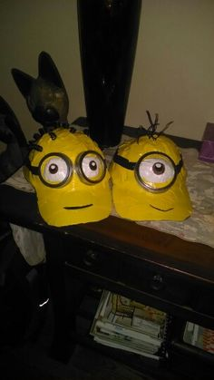 Minion hats for crazy hat day at cub scout camp
