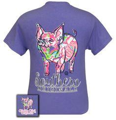 Pig Floral Pattern T-Shirt