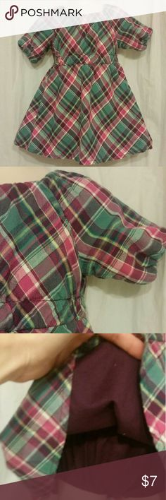 Classic Plaid Toddler Dress by Cherokee Classic plaid print in purple and green.  Cotton dress lined in dark purple.  Matching diaper cover in purple.  Elastic trim on neckline and sleeves. Size 12 M by Cherokee Cherokee Dresses Casual