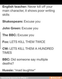 Because you mentioned john green, BBC, CW, andrew Hussie and Shakespeare  in the same picture i shall repin you