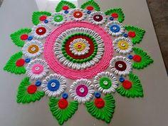 Very big and very beautiful Diwali special rangoli design by DEEPIKA PANT Easy Rangoli Designs Videos, Easy Rangoli Designs Diwali, Diwali Special Rangoli Design, Rangoli Designs Latest, Rangoli Designs Flower, Rangoli Border Designs, Colorful Rangoli Designs, Rangoli Patterns, Rangoli Ideas