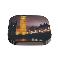 Kess InHouse Laura Evans 'Westminster at Night' Yellow Multicolor Coasters