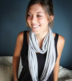 This light grey T-shirt necklace / scarf is made from cotton knit waste fabric. It can be worn 5 different ways (AT LEAST)! Online Gifts, Winter Wardrobe, Womens Scarves, Scarfs, Fashion Accessories, Necklaces, Women's Fashion, Boutique, Grey