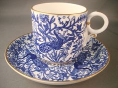 Royal Crown Derby Blue Peacock Coffee Can & Saucer Demitassee Cup and Saucer