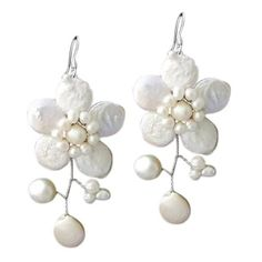 Handmade Sterling Silver 'Lace Sakura' White Pearl Flower Earrings... (€17) ❤ liked on Polyvore featuring jewelry, earrings, sterling silver pearl earrings, sterling silver pearl jewelry, pearl earrings jewellery, sterling silver flower earrings and lace jewelry