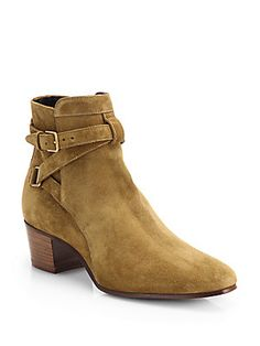 Saint Laurent Blake Suede Belted Ankle Boots