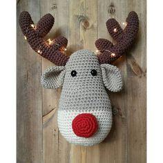 Crochet reindeer head wall hanging - antlers decorated with lights!! #crochetreindeer #crochet #rudolphtherednosereindeer #rudolph #reindeer #crochetchristmas #crochettrophyhead #amigurumireindeer #amigurumireindeer #handmadewithlove #handmade #madebyme #