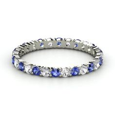 Rich & Thin Eternity Band - 14K White Gold Ring with Sapphire & White Sapphire | Gemvara