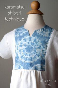 Liesl + Co Cinema Dress inspiration: Karamatsu Shibori Technique on the yoke of the Oliver + S Hide-and-Seek Tunic