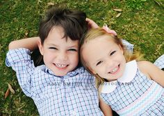 cute brother and sister pose