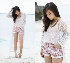 white lace tank top, floral shorts, & long lace cardigan