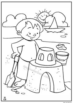 After Long Dip In The Sea Have Some Fun With Sand Coloring Page Find This Pin And More On Summer Pages Free Online By Magic Color