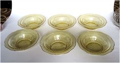 1930's Patrician Amber Depression Glass by cheshirecatantiques------- I HAVE ONE OF THIS SIZE. Glass Dishes, 1930s, Serving Bowls, Depression, Amber, Yellow, Antiques, Unique Jewelry, Tableware
