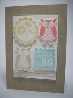 Stampin' Up Punch Bunch stamp set Owl Punch Cards, Owl Card, Handmade Birthday Cards, Handmade Cards, Animal Cards, Stamping Up, Kids Cards, It's Your Birthday, Paper Goods