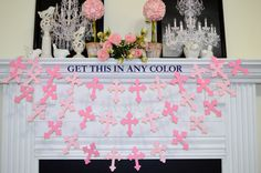 Cross garland, Christening dedication, first communion/ baby shower pink or blue baptism garland cross decoration, God bless your baby decor by DCBannerDesigns on Etsy https://www.etsy.com/listing/220321430/cross-garland-christening-dedication
